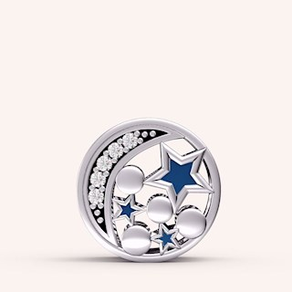 The Moon and Star Night Sky Charm - Color