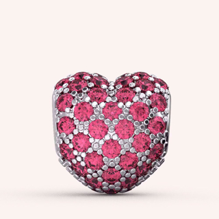 Fluttering Pink Heart Charm - Color