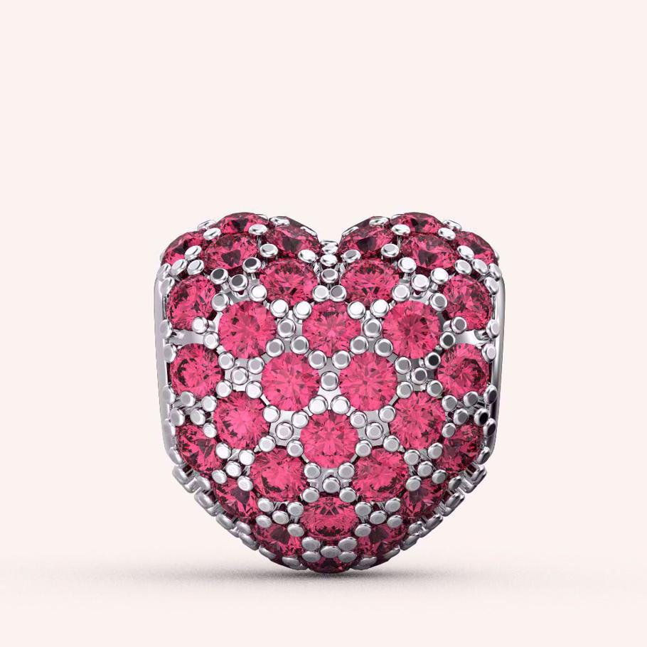 Fluttering Pink Heart Charm - Color