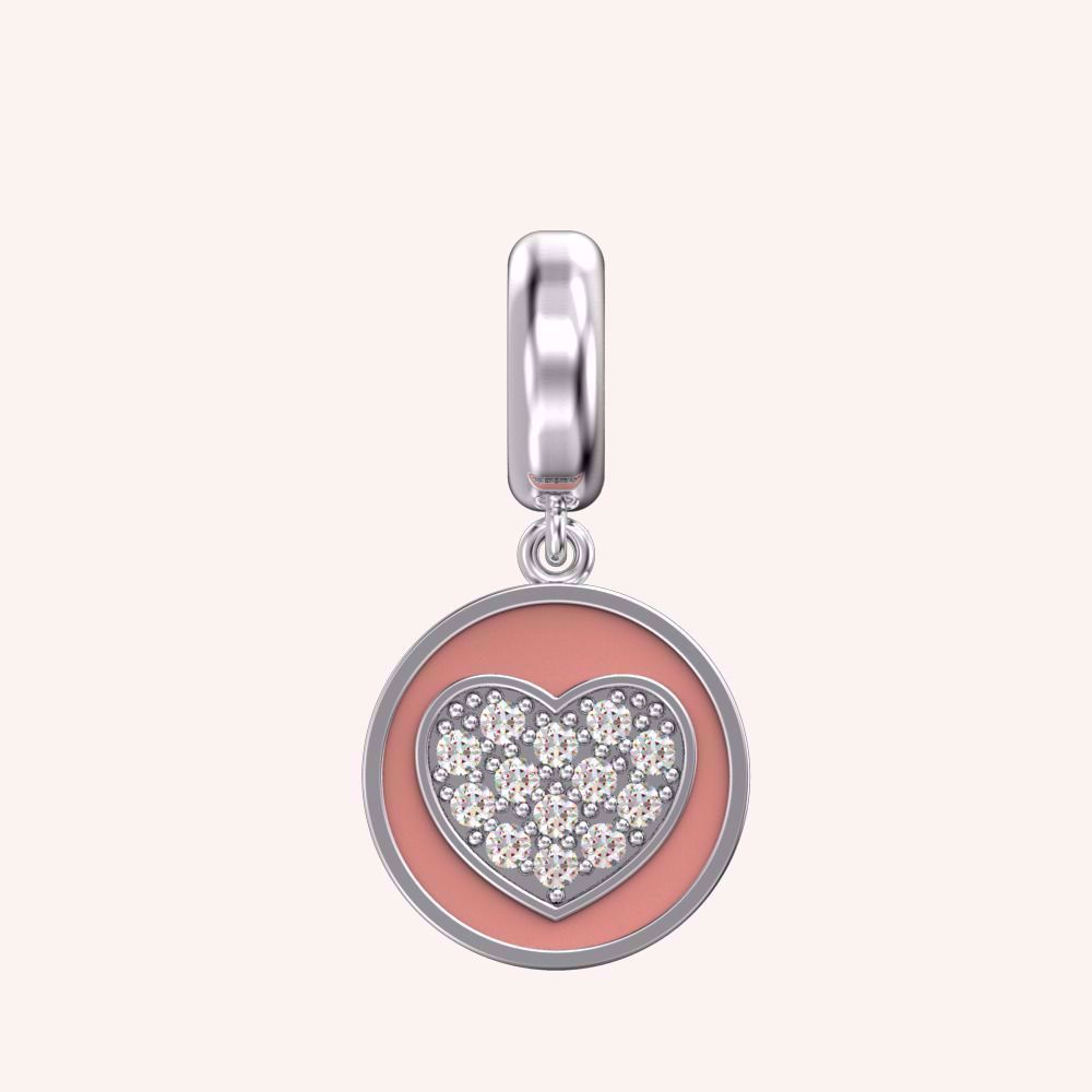 Forever Yours Peach Heart Charm - Color