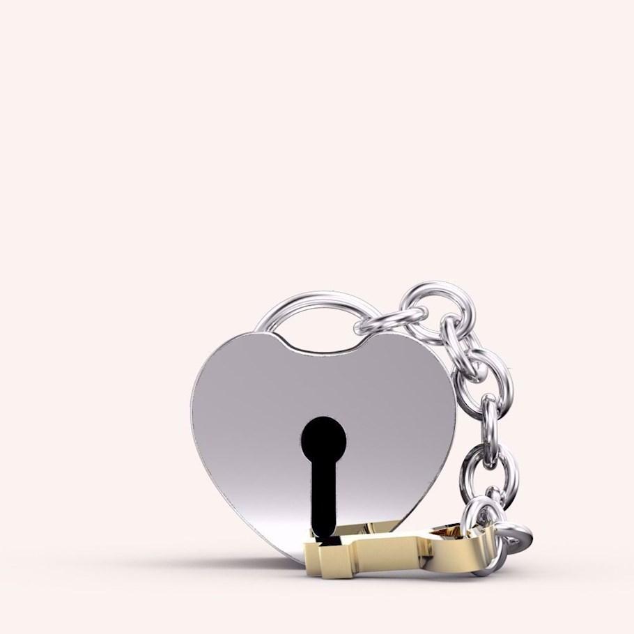 My Heart Lock and Key Charm - Charms