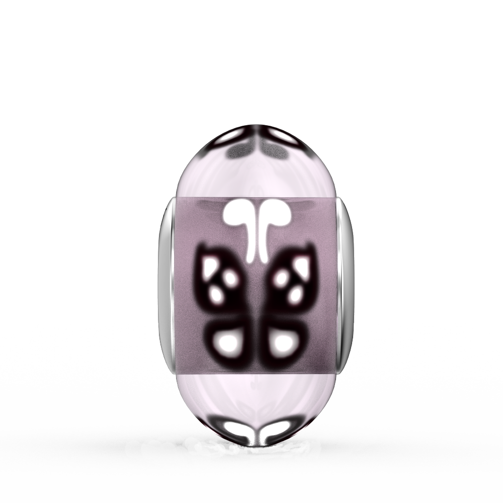 Purple Butterfly Glass Bead Charm
