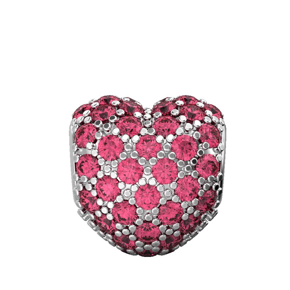Fluttering Pink Heart Charm